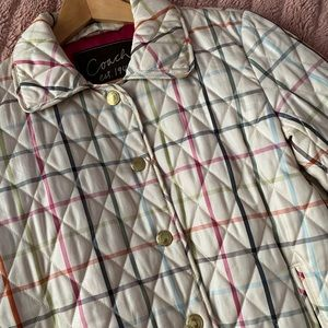 coach • tattersall quilted puffer coat
